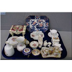 Selection of porcelain miniatures including Limoges lidded trinket boxes, small tea set, Royal Crown