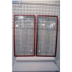 """Two leaded glass panels, overall dimension 40"""" X 20"""" each"""