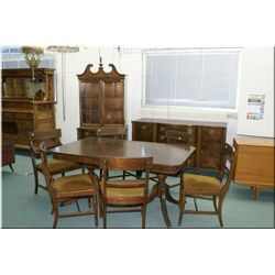 Nine piece Regency style dining room suite including table with three insert leaves, six chairs incl