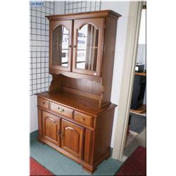 Chest on chest maple sideboard and hutch made by Vilas