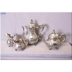 Four piece mid 20th century English silver plate tea service Note: Bird finial and figural spout