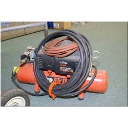 1 1/2 horse power, three gallon portable air compressor with hoses