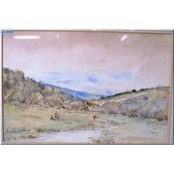 """A framed antique watercolour River Fishing 9"""" X 13"""" signed Smith 1902"""
