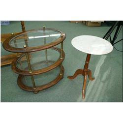 Pair of semi contemporary occasional tables including a marble top wine table and a three tier glass