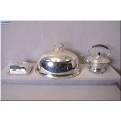 Three silver plate servers including lidded cheese dome, meat dome and electrically heated tea pot s