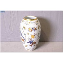 "German porcelain vase decorated in bird motif with gilt edge 9 1/2"" high"