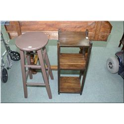 Three tier mission style display stand and a bar stool