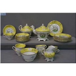 Vintage tea set including tea pot, open sugar, lidded sugar, cream jug, nine cups and saucers and ni