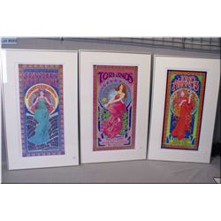 Three framed Bob Masse prints including Juno Awards, Rexall Place, The Grassroots Music Festival and