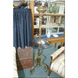 Antique cast brass floor standing oil lamp base with attached marble drink's tray