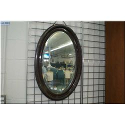 """Antique bevelled oval wall mirror 32"""" by 22"""""""