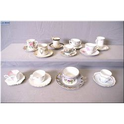 Selection of Demitasse cups and saucers including Royal Austria, Limoges, Occupy Japan and Japanese
