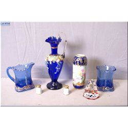 Selection of vintage collectibles including hand painted Nippon vase, cobalt glass cream and sugar,