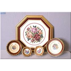 Five framed needle works, all floral and assorted sizes