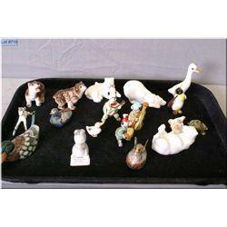 Selection of miniature animals including Cloisonn', porcelain bears, Japanese turtle band, etc