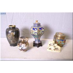 A selection of collectibles including lidded Cloisonn' pot, hand enamelled pot, chased brass vase, s