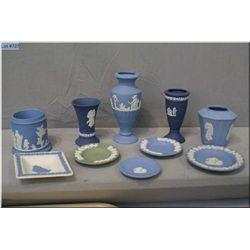 Selection of Wedgwood Jasperware including bud vases, pin trays, toothpick holders, etc