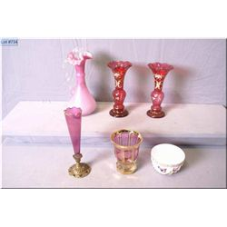 Selection of vintage glass collectibles including a matched pair of hand enamelled cranberry glass v