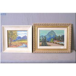 """A framed oil on board painting of a colourful mountainscape signed by artist Book 8"""" x 9"""" and a fram"""