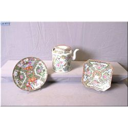 Selection of antique Asian porcelain including Rose Medallion teapot and two plates