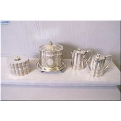 Selection of vintage silve rplate including small tea pot with matching hot water pot, a heavily cha