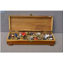Hinged cedar jewel box filled with vintage and collectible earrings