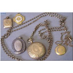 A selection of vintage jewellery including a gold filled pocket watch in 25 year case complete with
