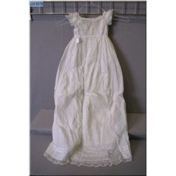 Antique white cotton and lace Christening gown with under slip
