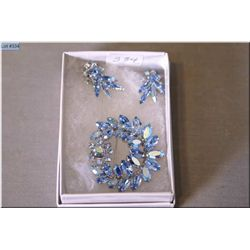 Signed Sherman brooch and matching earrings in shades of pale blue