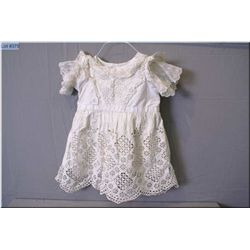 Antique white cotton and lace child's dress with under slip