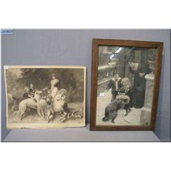 Two vintage black and white print, one framed and one unframed, note some condition issues