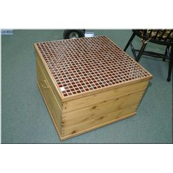 Interesting primitive style chest with cedar lining and tile top lid