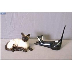 A Royal Dux porcelain cat and a Beswick cat