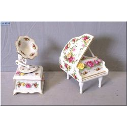 """Two Royal Albert """"Old Country Roses"""" including piano and gramophone, both music boxes"""