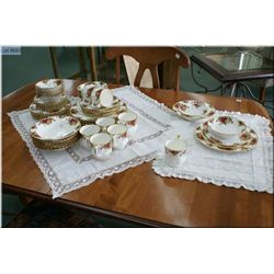 A set for eight of Royal Albert  Old Country Roses  including dinner, luncheon, dessert and bread pl