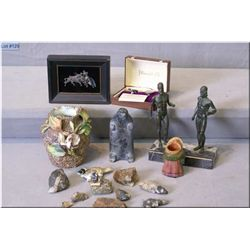 Selection of collectibles including a soapstone carving, pair of farthing cufflinks, cast Warriors o
