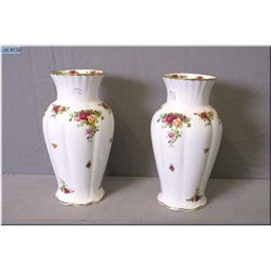 """A pair of Royal Albert """"Old Country Roses"""" vases 12"""" in height"""