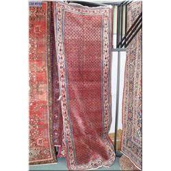 """Iranian wool runner with overall geometric center surrounded by multiple borders 43"""" X 124"""""""