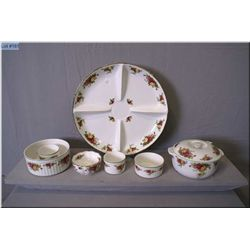 A selection of Royal Albert  Old Country Roses  including divided chip and dip tray, graduated ramek