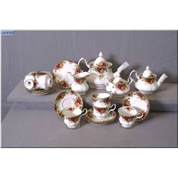 A Royal Albert  Old Country Roses  tea set including teapot, cream and lidded sugar, single serve te