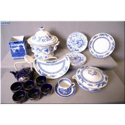A selection of vintage and collectible porcelain including lidded tureen, casserole dishes, Asian te