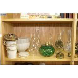 A selection of vintage lamp parts including chimneys, bowls, shades etc.