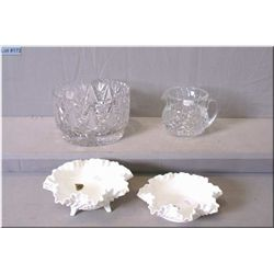 Two hobnail milk glass dishes by Fenton, complete with original labels, plus a crystal dish and pitc
