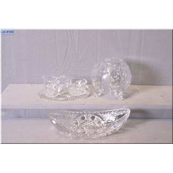 A selection of crystal including a footed rose bowl, celery bowl, plus a cream and sugar with tray
