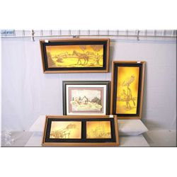 Three framed art works depicting farm scenes and a painted clay  A Peaceful Day on the Farm  signed