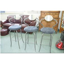 Three metal framed bar/breakfast stools with upholstered seat