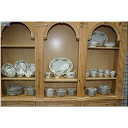 A dinner set for twelve including dinner plates, lunch plates, bread and butter plates, nappies, sou
