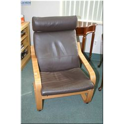Modern bent wood upholstered parlour chair