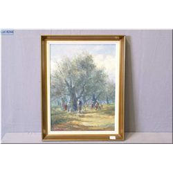 "Framed oil on board painting of orchard harvest signed by artist 15"" X 12"""
