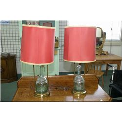 A pair of interesting retro table lamps with galley bases